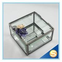2015 purple color best decorative Glass jewelry trinket box Glass Gift Box for Jewelries