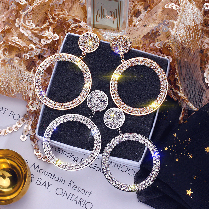 FYUAN Fashion Shining Circle Drop Earrings Precision Inlay Gold Silver Color Rhinestone Earrings for Women Wedding Party Jewelry