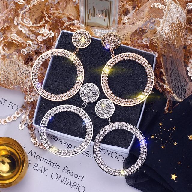 FYUAN Fashion Shining Circle Drop Earrings Precision Inlay Gold Silver Color Rhinestone Earrings for Women Wedding.jpg 640x640 - Shining Circle Drop Wedding Party Earrings