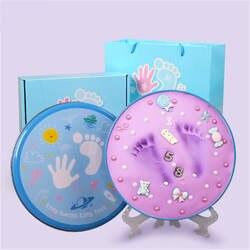 Ребенок 3D мягкая глина Inkless Handprint для новорожденных ручной след производители дети сувенир на день рождения младенческой записи роста DIY