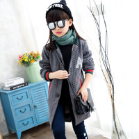 Girls Sweater Jacket Spring Autumn Knitted Cardigan Long Coat For Kids 4 15Years Casual Outerwear Jaqueta