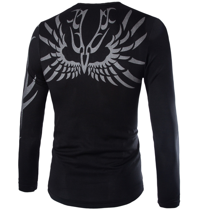 Autumn Eagle Print Slim Tops Tees Long Sleeve camisas hombre Clothes Man Causal  Round Neck T Shirt Fashion