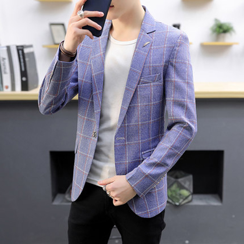 Pink Blazer Men Casual Slim Fit Mens Plaid Blazer Designs 2018 Men Blazer Slim For Summer Blaser Masculino Slim Fit ...