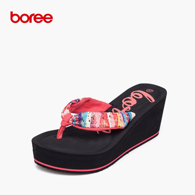 c19cd73c20 US $21.91 35% OFF|Boree 2016 New Summer Beach Women's Fashion Flip Flops  Casual Sandal Shoes Solid Canvas Flatform Slippers Glitter flowers 58009-in  ...