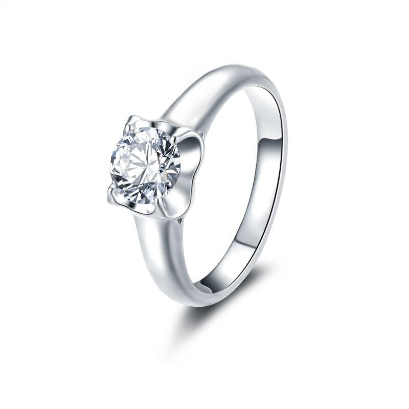 цена на ANI 18K White Gold (AU750) Women Wedding Ring Luxury 0.50 CT Certified I/SI Round Cut Real Diamond Brand Fine Jewelry Band Rings