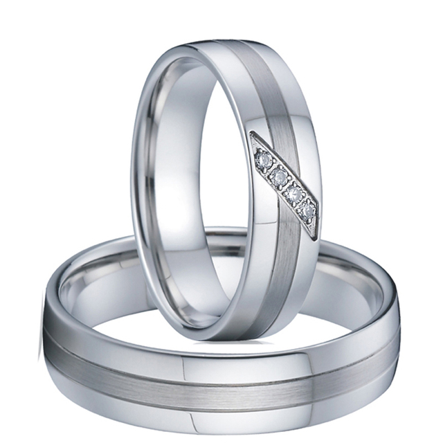 Alliances Anniversary Couple Ring men fashion Jewelry Silver white gold color Wedding Band Engagement Rings for women