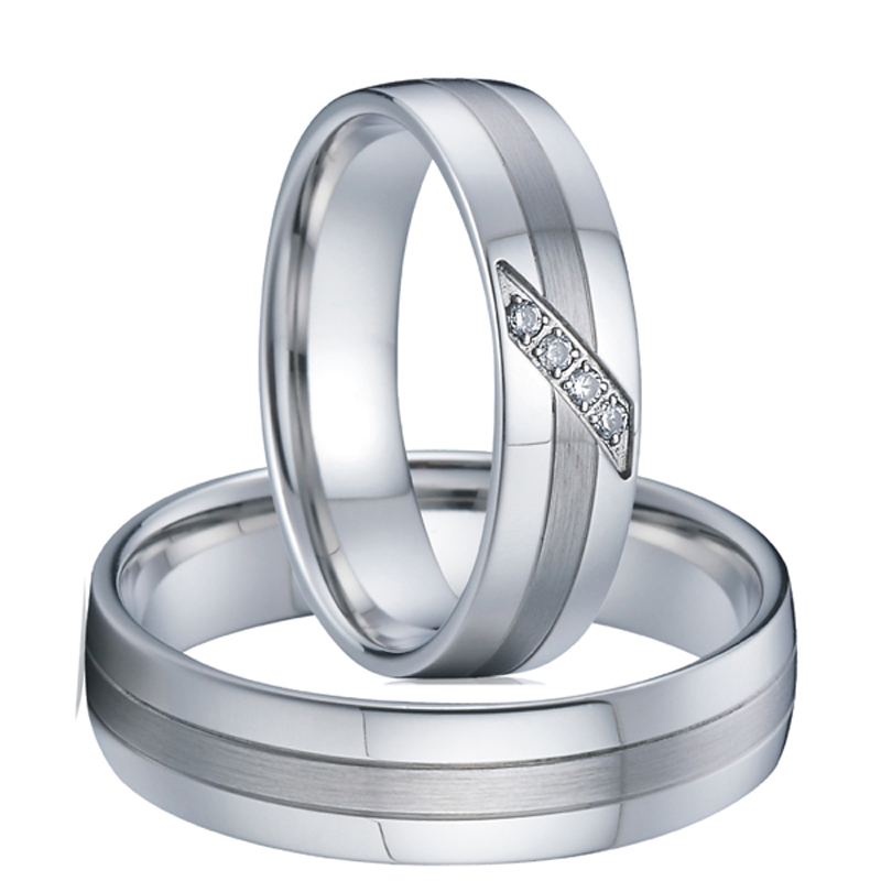 Silver color Jewelry Couple Ring men bague anillos never fade Titanium Wedding Band Engagement Rings for women logo engraved titanium steel gold silver love rings for women men cubic zirconia engagement wedding rings anillos bague femme