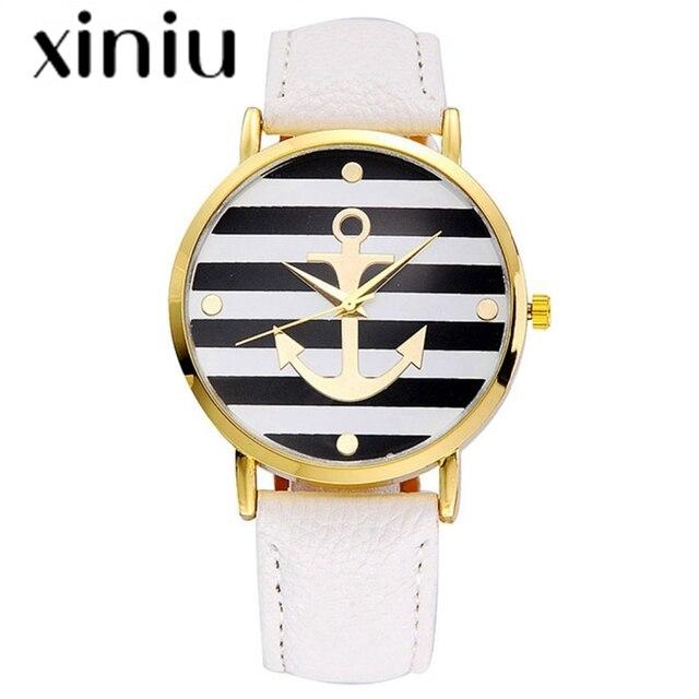 XINIU quartz watch women men PU Leather strap Anchor Watches Women Dress Wristwa
