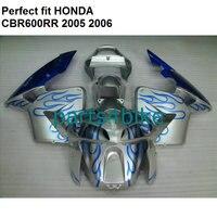 Injection molding fairing for Honda CBR600RR 2005 2006 silver black fairings kit CBR 600RR 05 06 NP15