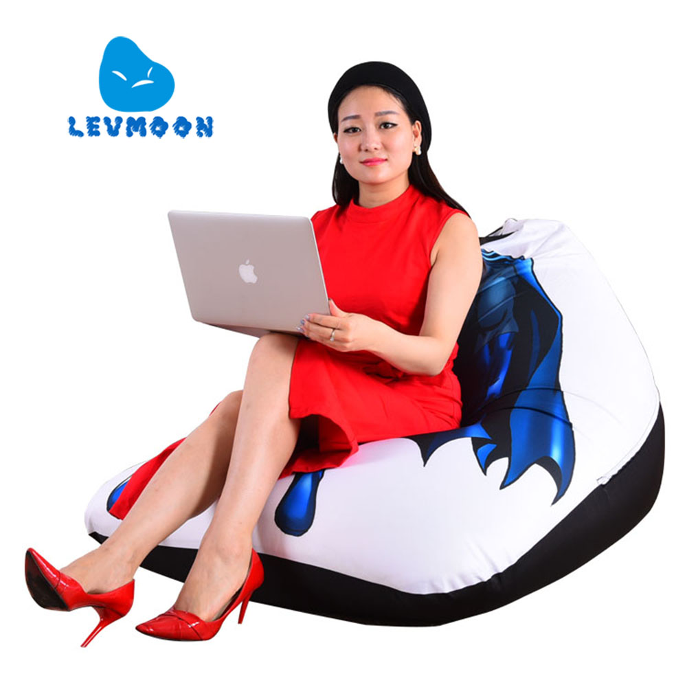 ФОТО LEVMOON Beanbag Sofa Chair Superman Seat zac Comfort Bean Bag Bed Cover Without Filler Cotton Indoor Beanbag Lounge Chair