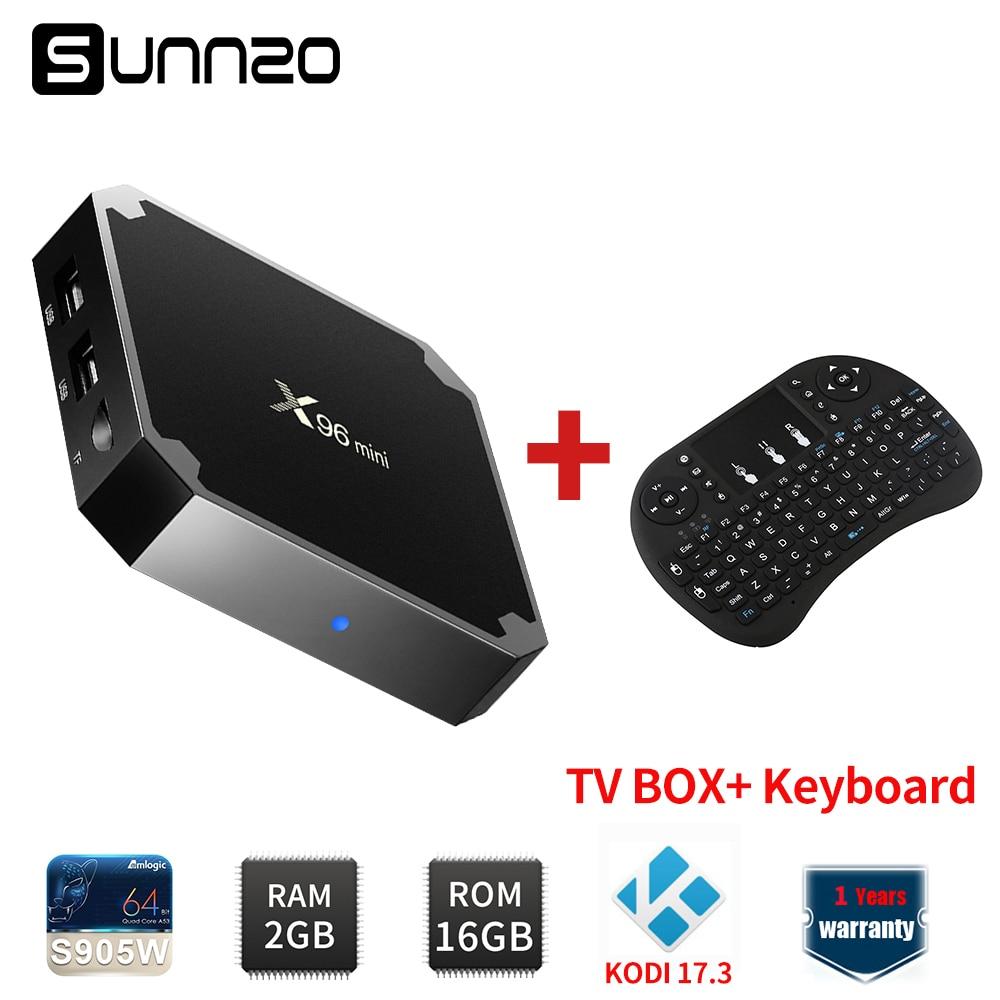 X96mini Smart Android 7.1.2 TV BOX Loaded Kodi 17.3 x96 mini Set-top Box 2GB+16GB eMMC Amlogic S905W Quad Core+Wireless Keyboard