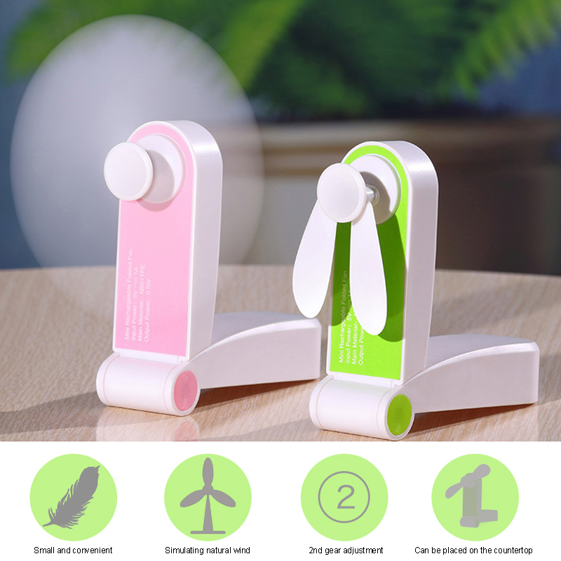 Handheld Usb Pocket Electric Folding Fan Portable Cooling Gift Air Conditioning Mini Small Fans Originality Household