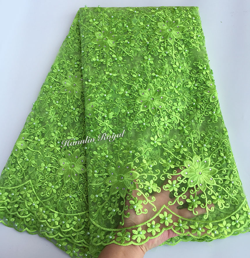 Plain Lemon green Lovely embroidery African lace french lace tulle fabric with massive stones beads high