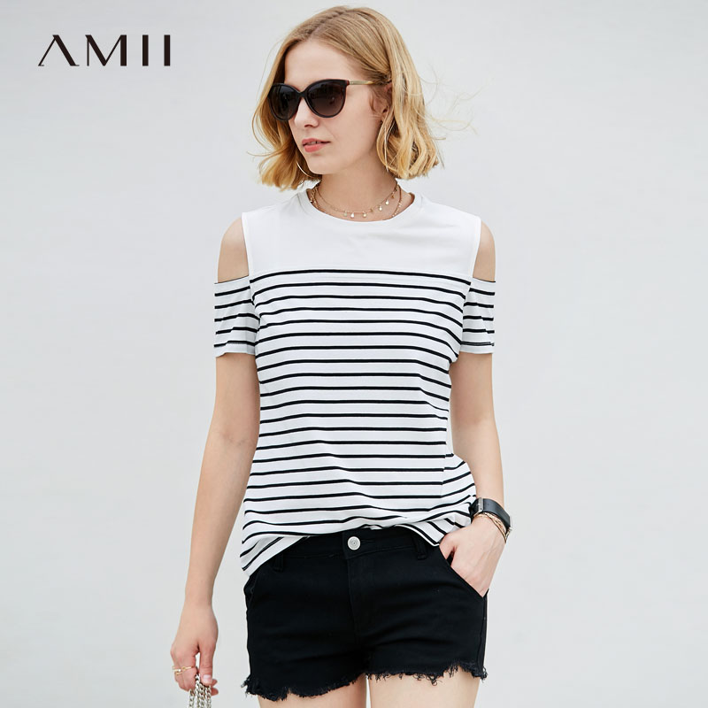 Amii Women Minimalist 2018 Summer T-Shirt Striped Off Shoulder Short Sleeve Plus Size Female Tee Tops