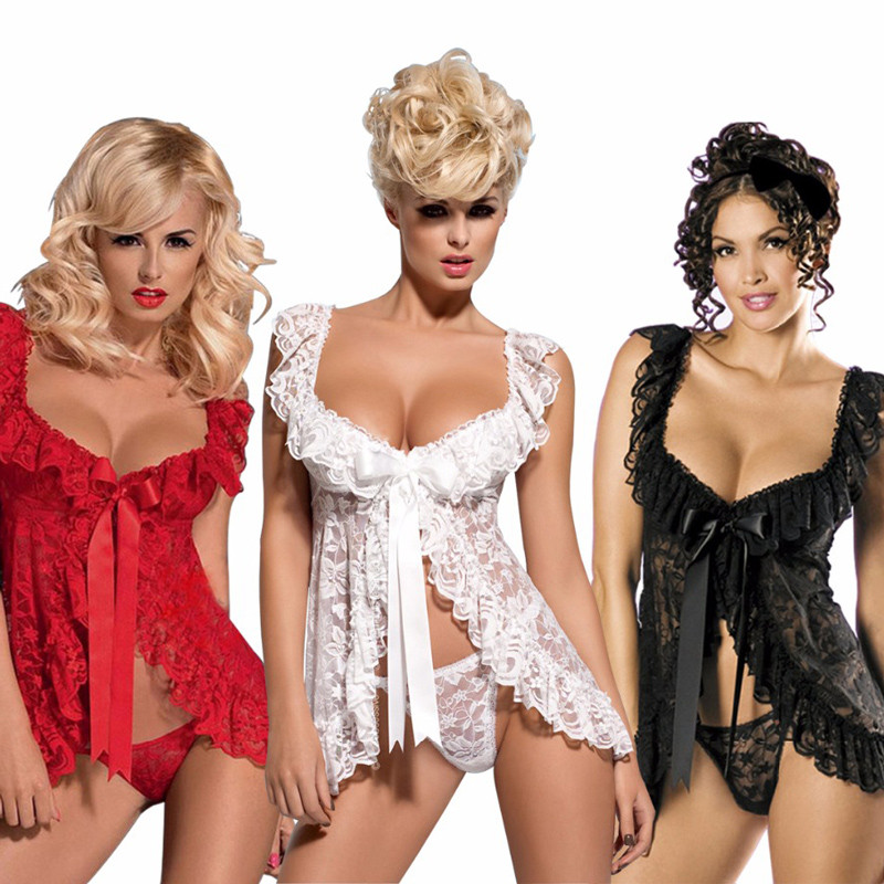 Plus Size Lingerie Sexy Lingerie Hot Lace Babydoll Dress Thong Erotic Underwear For Women Sleepwear Sexy Costumes Black White