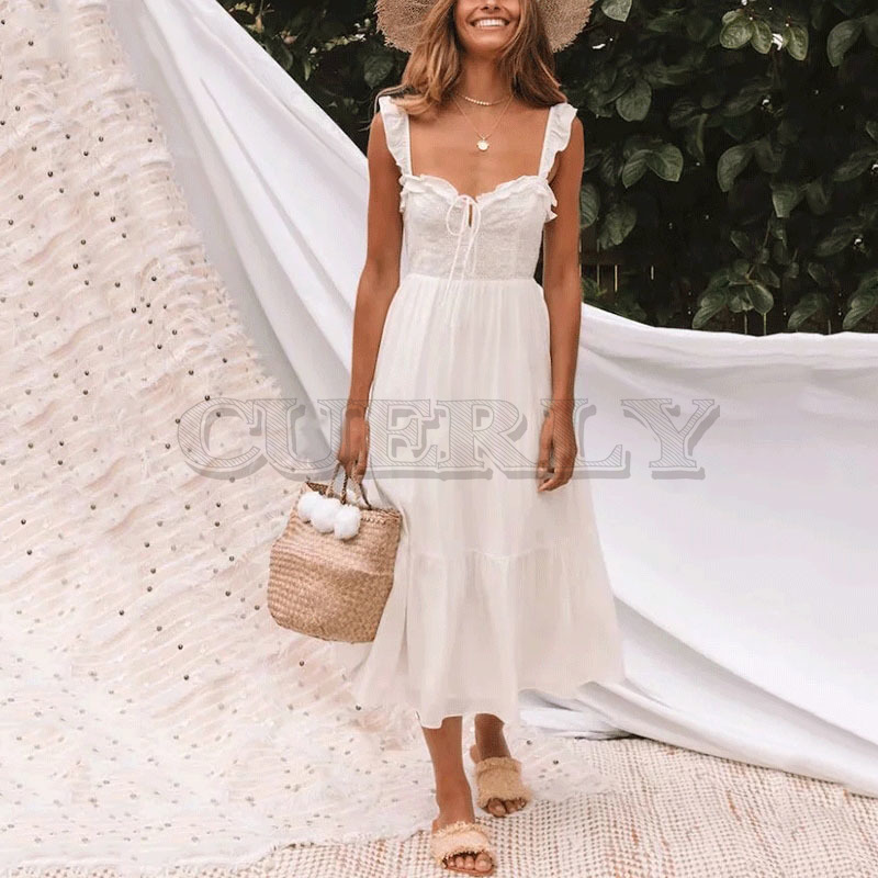 Cuerly 2019 summer white cotton embroidery lace dress bow fit and flare boho beach midi female L5