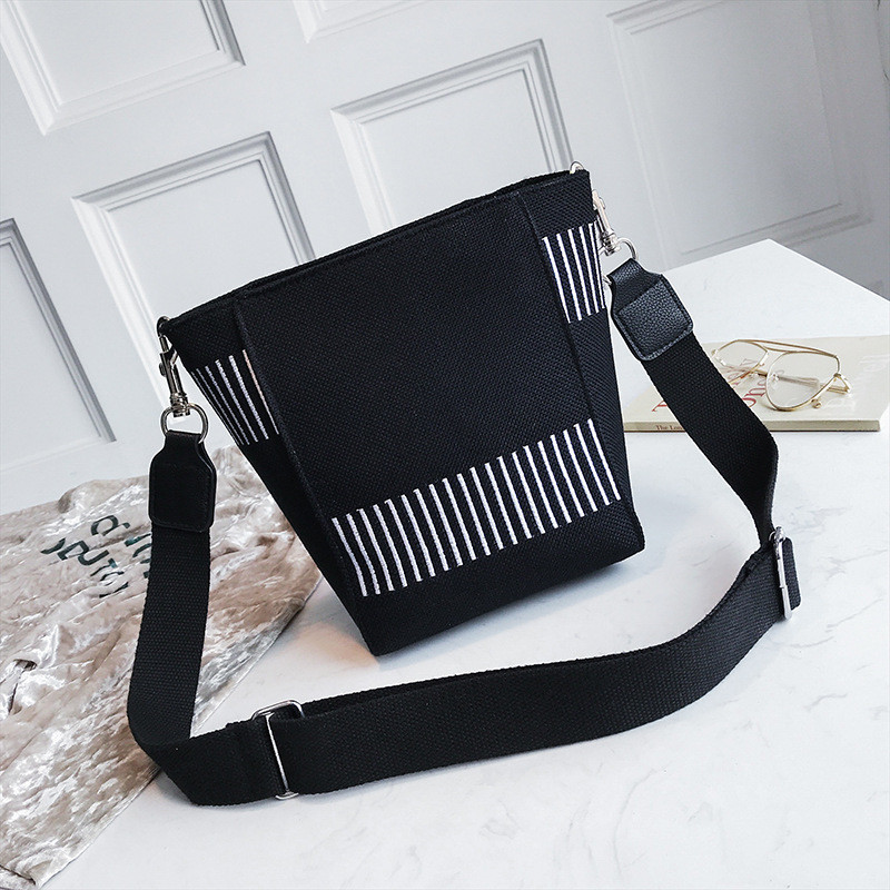 Canvas Bucket Bags Striped Shoulder Bag For Female Casual Portable Messenger Bags