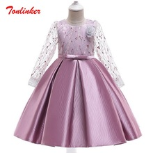 Girls Princess Long Sleeve Bow-Knot Embroidery Fiower Dress Girls Birthday Wedding Theme Party Ball Gown Tutu Dress
