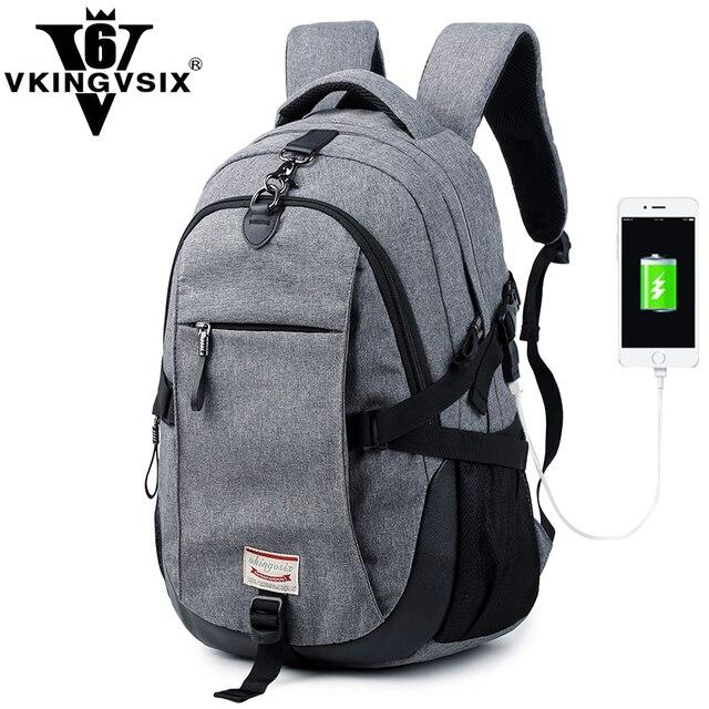 e84cd04972359 VKINGVSIXV6 Wodoodporny Duża Pojemność 19 Cal plecak szkolny dla teenages  USB Projekt Torby Plecak kobiet Torby