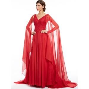 Image 2 - Robe de soirée longue rouge en dentelle, ligne a, col en v, robe élégante, bon marché, à perles, robes de fête mariage