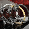 Ashion Men Punk Leading Opening Plated Steel Wire Viking Bracelet Unisex Titanium Silver And Gold Dragon Steel Stripes Bracelet
