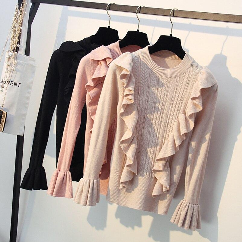 Pull à volants noir rose femmes 2018 hiver élégant manches longues évasées chandails tricotés femmes pull pull automne tops basiques