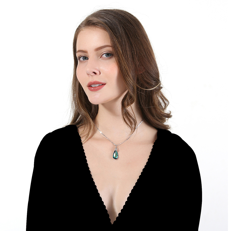 Image 4 - 2019 Summer Fine Jewelry Necklace for Women Water Drop Shaped Swarovski Crystal Pendant Necklace Birthday's Gift Collares-in Necklaces from Jewelry & Accessories