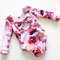 2017 Newborn Baby Girls Clothes New Fashion Hollow Out Back Long Sleeve Bow Baby Bodysuit Girl Clothing Infant Toddler Jumpsuit