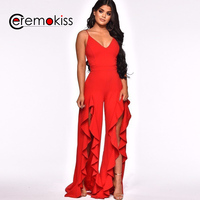 2019 Summer Spaghetti Strap Sexy Rompers Women Jumpsuit Sleeveless Solid Loose Slit Jumpsuits For Women Dropship