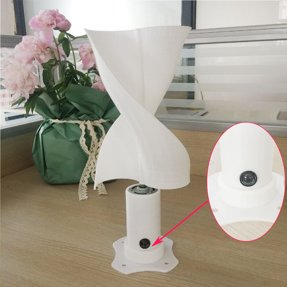 New Energy Class Micro Wind Turbine With LED Light Vertical Wind Generator With 2 Blades Started At 0.05m/s