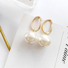 Contracted the new girl earrings fashion statement asymmetrical retro earring pearl metallic Wholesale of