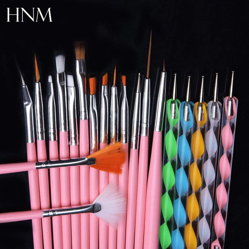 Hnm 20pcs set nail brush pens nail art diy design painting for Avon nail decoration brush