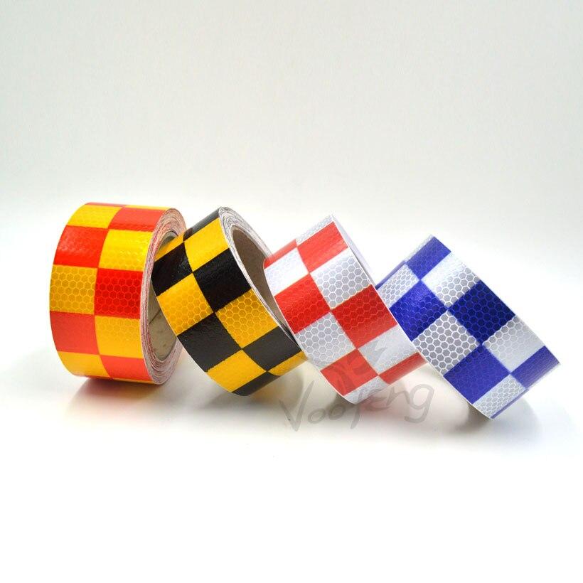 Samolepicí nálepka s reflexní výstražnou páskou 5 cmx10m s červenou / bílou žlutou / červenou žlutou / černou modrou / bílou barevnou hranou pro auto