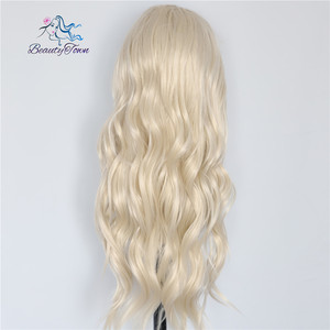 Image 2 - Красивые светлые бежевые натуральные волнистые термостойкие волосы BeautyTown для женщин, ежедневный макияж, Свадебная вечеринка, подарок, синтетические кружевные передние парики