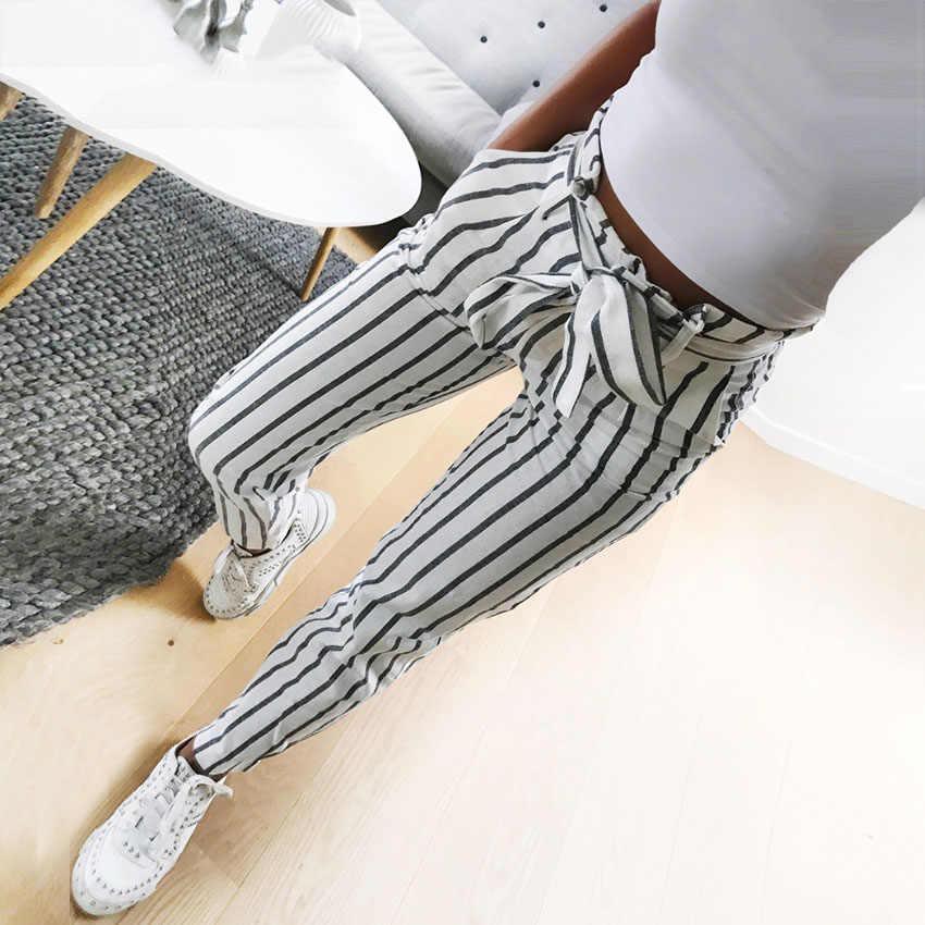 mejor amado bd380 0eb8e 2018 moda Otoño mujer casual media cintura Pantalones blanco rayas lazo  cordón dulce elástico cintura bolsillos casual Pantalones