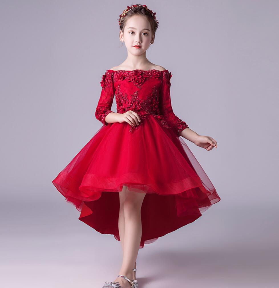 Off the Shoulder Formal Dress Party Appliques Flower Girl Dress Ball Gown Dress