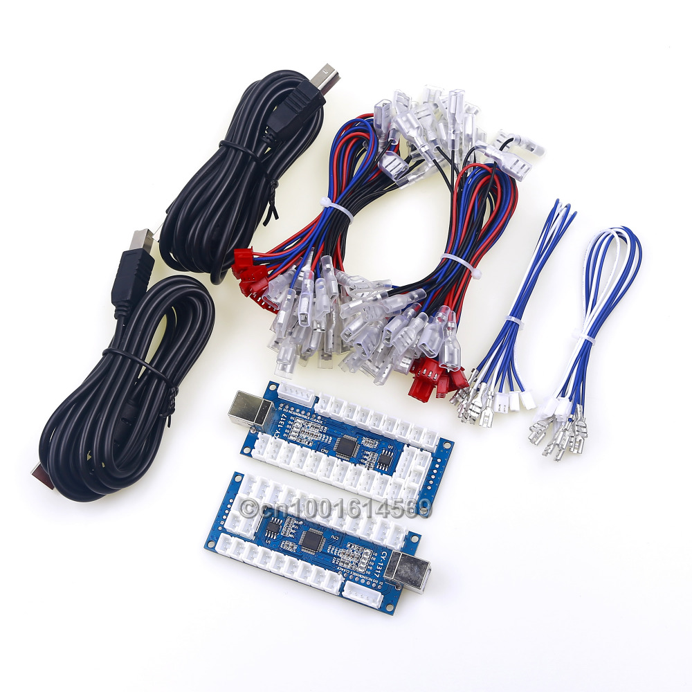 2 Player Zero Delay 4 In 1 USB Encoder PC Board to Arcade Joystick 2 Pin + LED Push Button For PS3 Game & Android System & MAME