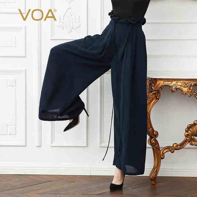 43a4fccec16c VOA Heavy Silk High Waist Ruffle Drawstring Plus Size Office Lady Wide Leg  Pants Solid Navy Blue Casual Women Trouser K103