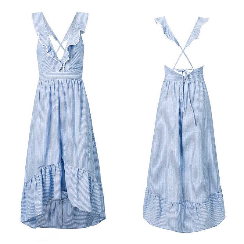 NLW Blue Striped Summer Dress Ruffle Peplum Long Dress 2019 Women V Neck Backless Sexy Dress Chic Backless Beach Party Vestidos