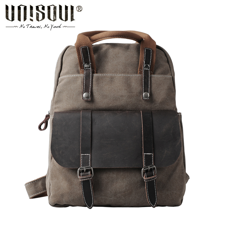 ФОТО UNISOUL Canvas Backpack New 2016 Fashion Vintage men's backpacks schoolbag travel bags High Quality Men original Backpack  tide