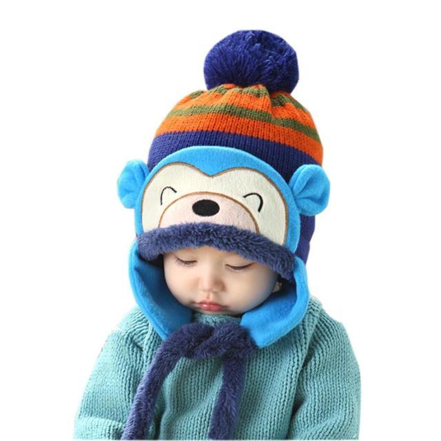 9a11a6da63d baby winter hat New Fashion Winter Warm Kid Baby Girl Boy Ear Thick Knit Cap  Hat woolen caps for kids baby bonnet topi bayi