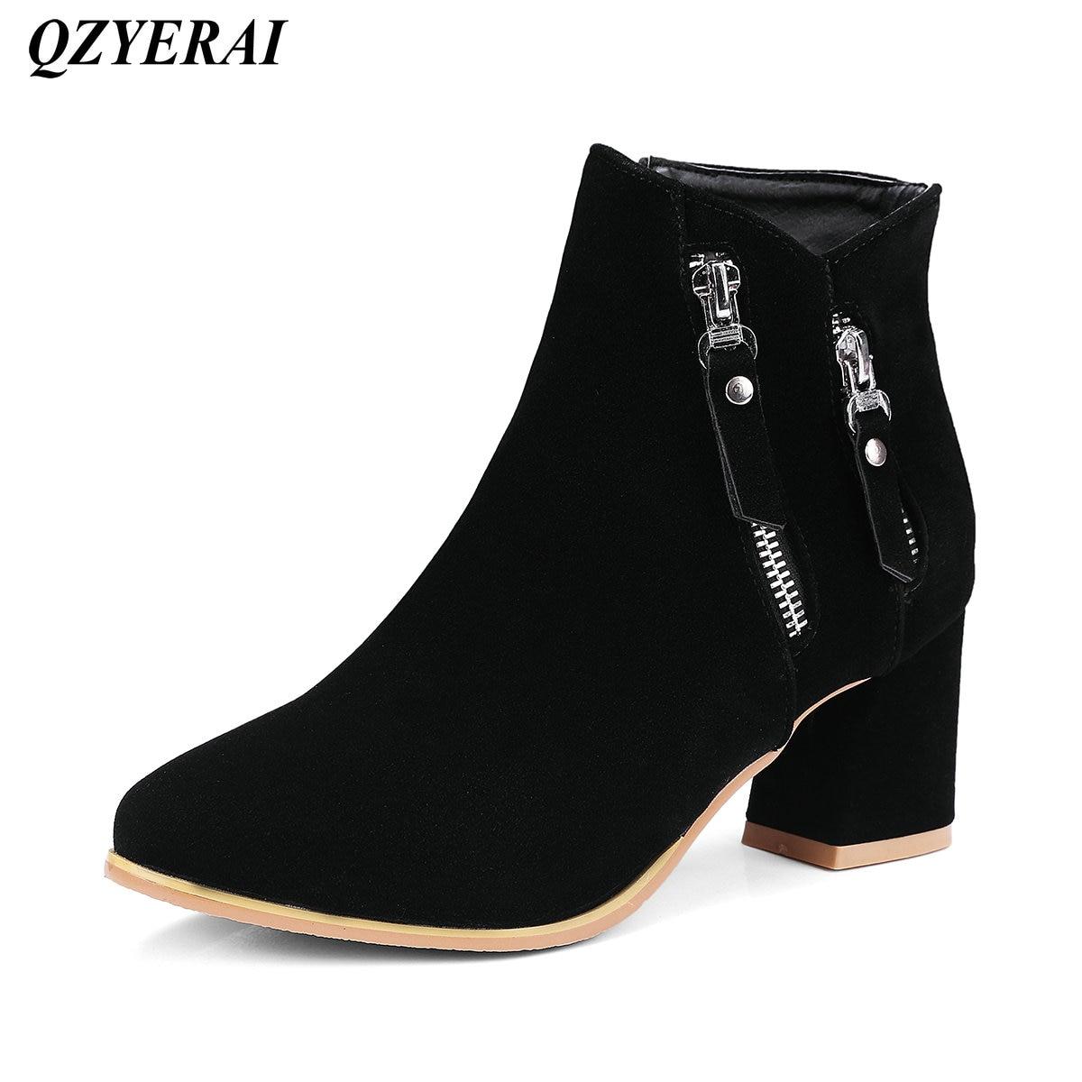 QZYERAI Qiu dong lady fashion short boots super heel female boots fashionable font b womens b