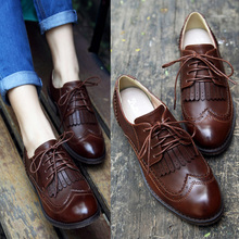 Vintage Round Toe Tassel Women's Shoes 2016 Spring And Autumn British Style Flat Single Shoes Lace Up Female Leather Shoes