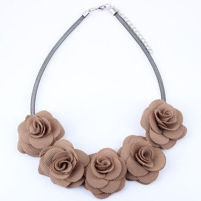 Bonsny Flowers Fabric Chocker Necklace