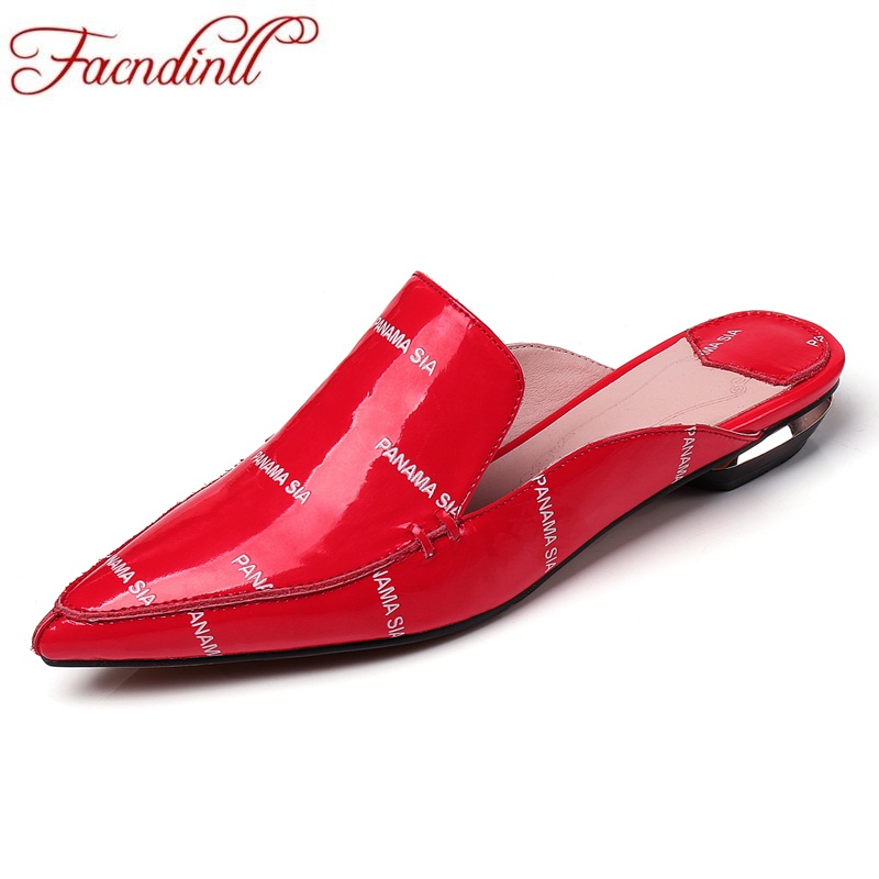 FACNDINLL single shoes spring leather fashion printing  big size code red patent leather sandals and slippers flat casual shoes facndinll genuine leather sandals for