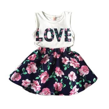 74441c865 2 3 4 5 6 7 8 9 10 años Niñas Ropa verano niños trajes para niñas amor  carta chaleco conjunto de Ropa para niños con falda de flores