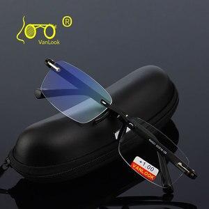Image 1 - Occhiali da lettura con il Caso + 1.00 + 1.50 + 2.00 + 2.50 + 3.00 + 3.50 + 4.00 TR90 Oculos de Leitura Senza Montatura Uomini Anti riflettente