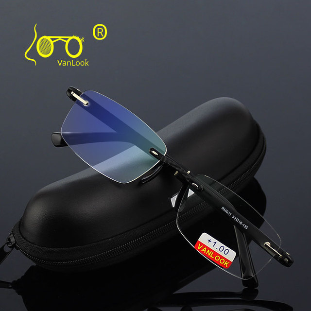 Occhiali da lettura con il Caso + 1.00 + 1.50 + 2.00 + 2.50 + 3.00 + 3.50 + 4.00 TR90 Oculos de Leitura Senza Montatura Uomini Anti riflettente