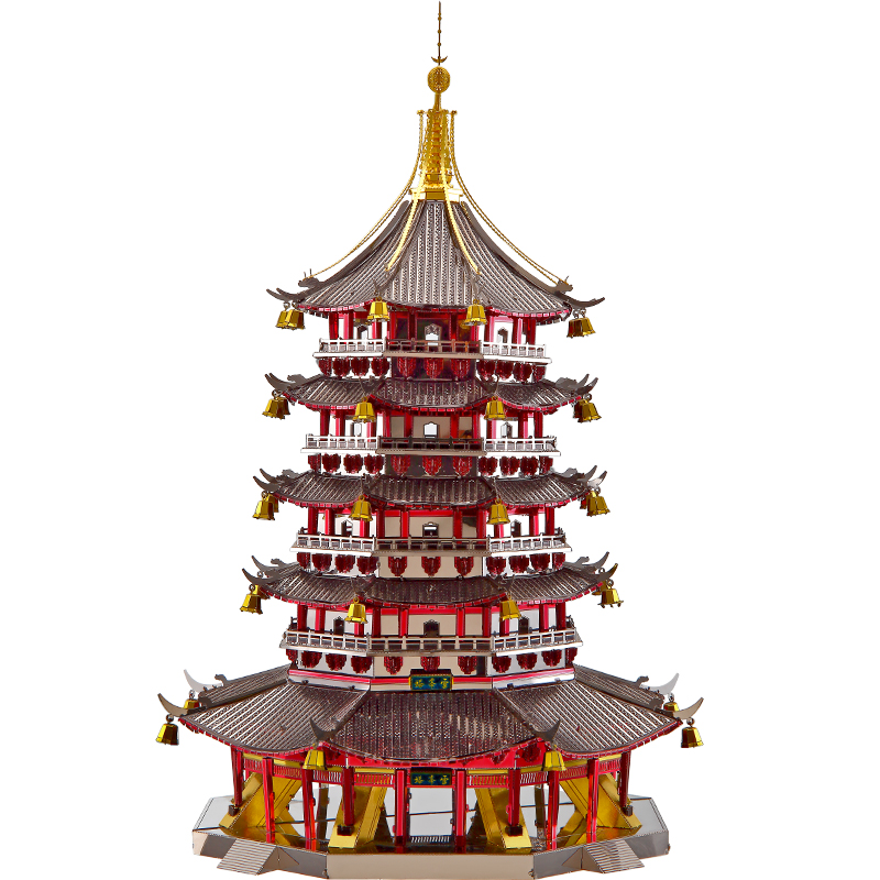 2018 Piececool 3D Metal Puzzle Leifeng Pagoda building DIY Laser Cut Puzzles Jigsaw Model For Adult Child Kids Educational Toys star war 3d metal puzzle first order special forces tie fighter silver puzzles jigsaw model adult child kids educational toy