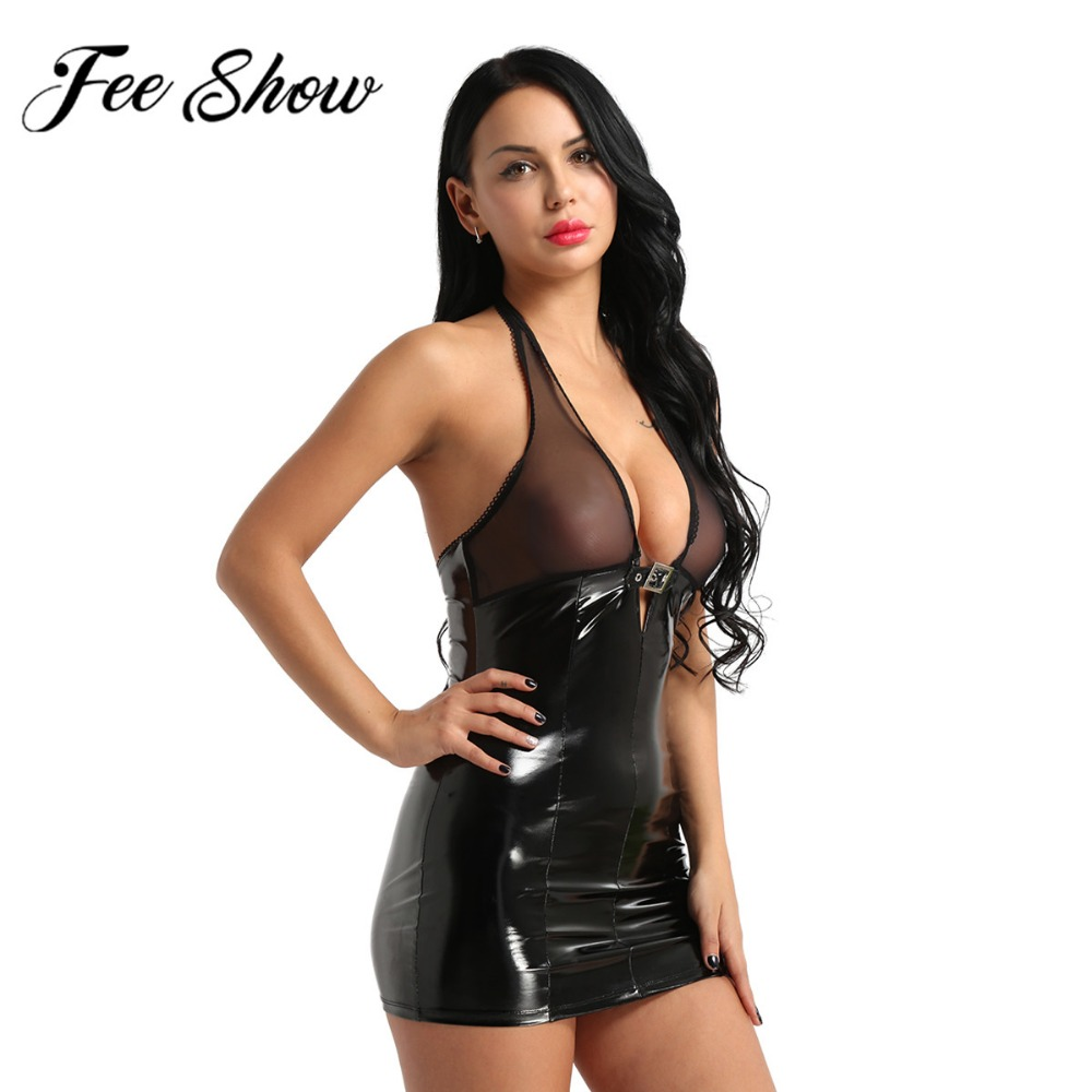 Women Lady Lingerie Dress Mesh&Patent Leather Splice Sleeveless Halter Neck Deep-V Neckline Semi-See through Slim Party Clubwear